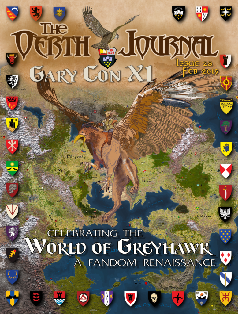 Oerth Journal #28 cover image - cartography by Anna Meyer, artwork by W. Kristoph Nolen, Heraldry by Bryan Blumklotz
